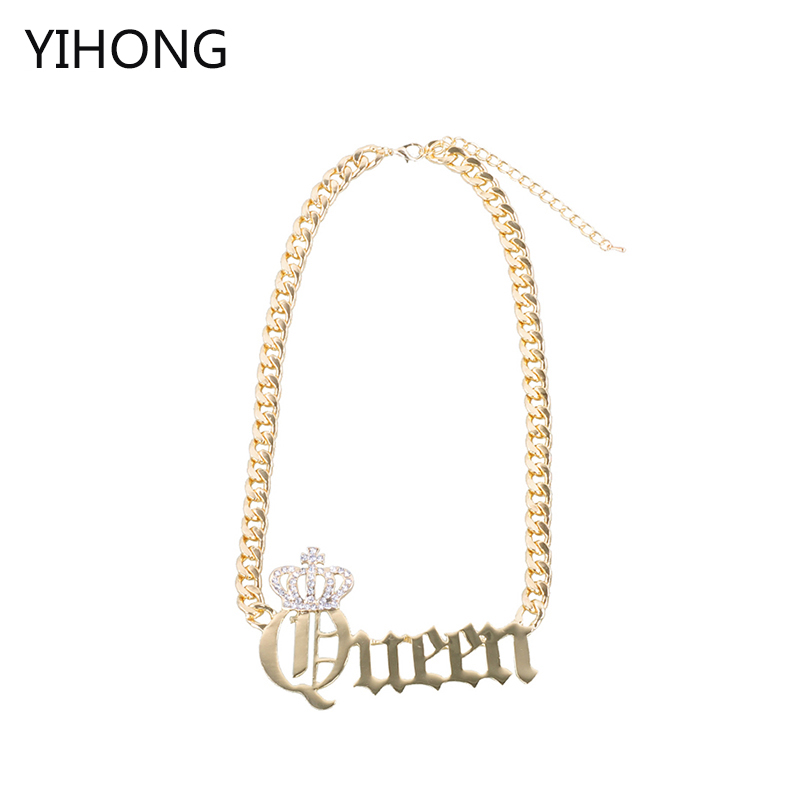 Fashion Simple Queen Pendant Chain Necklaces Jewelry for Women Choker Chain Gold Color Alloy Statement Accessories delicate alloy body chain for women