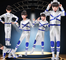 Childs Kids Space Boy Man Suit Astronaut Fancy Dress Costume Outfit robot astronaut performance space dance show(China)