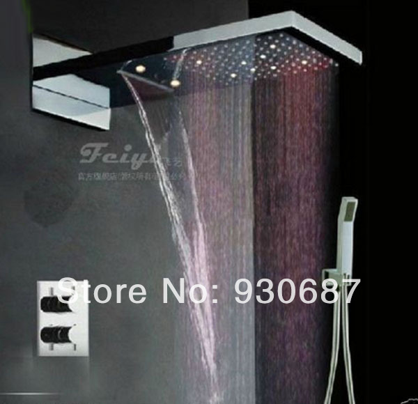 Luxury Chrome Shower Set Faucet with LED Rainfall Shower Head