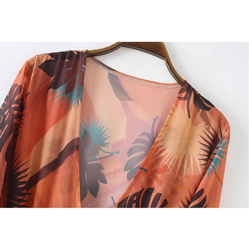 夏の女性の花柄ルーズ長袖ビキニカバーアップショールロング着物ブラウスロングカーディガンシフォン休暇シャツ
