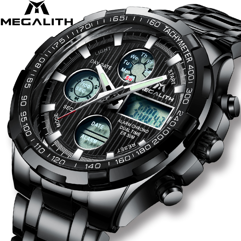 MEGALITH Men s Watch Sports Waterproof Chronograph Date LED Watches Military Digital Quartz Wristwatches Gents Relogio