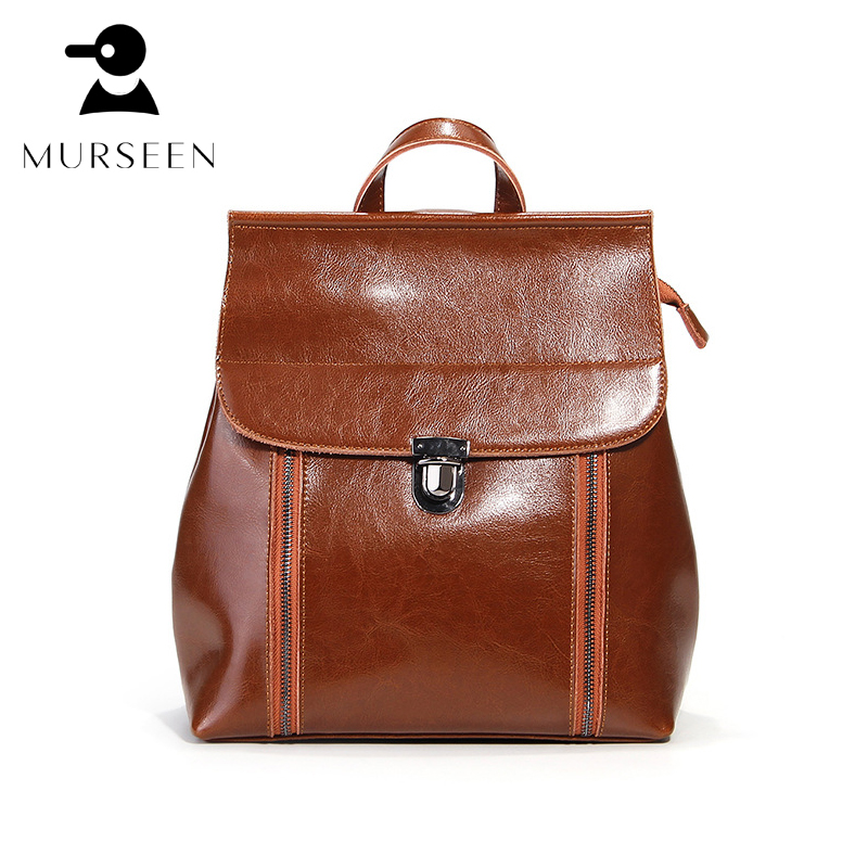 brand women backpack genuine leather school backpacks for teenage girls oxford shoulder bag large capacity travel bags mochila backpack women korean style school bags oil wax cowhide fashion backpacks for teenage girls mochila designer backpack travel bag