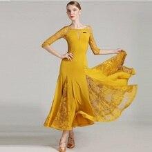 Lady Ballroom Dancing Dress Women Modern Waltz Tango Standard Costumes Female Dance Practice Lace Half Sleeve Oneck D-0329