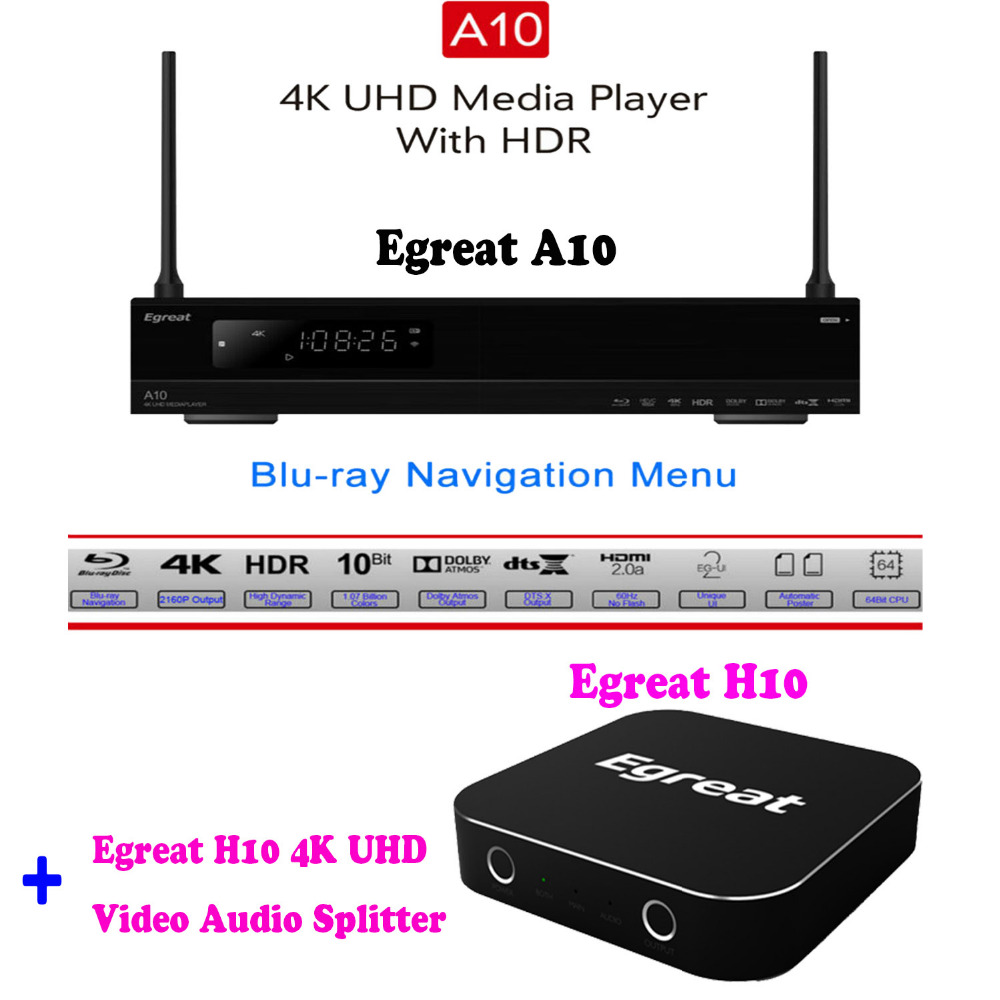 Egreat A10 4K Blu-ray Hard Disk Player ISO Playback Navigation Menu Android TV Box, Egreat H10 4K Ultra HD Video Audio Splitter oppo udp 203 4k uhd hdr 3d hd ultra blu ray disc player usb3 0 dvd player china version 110v 220v