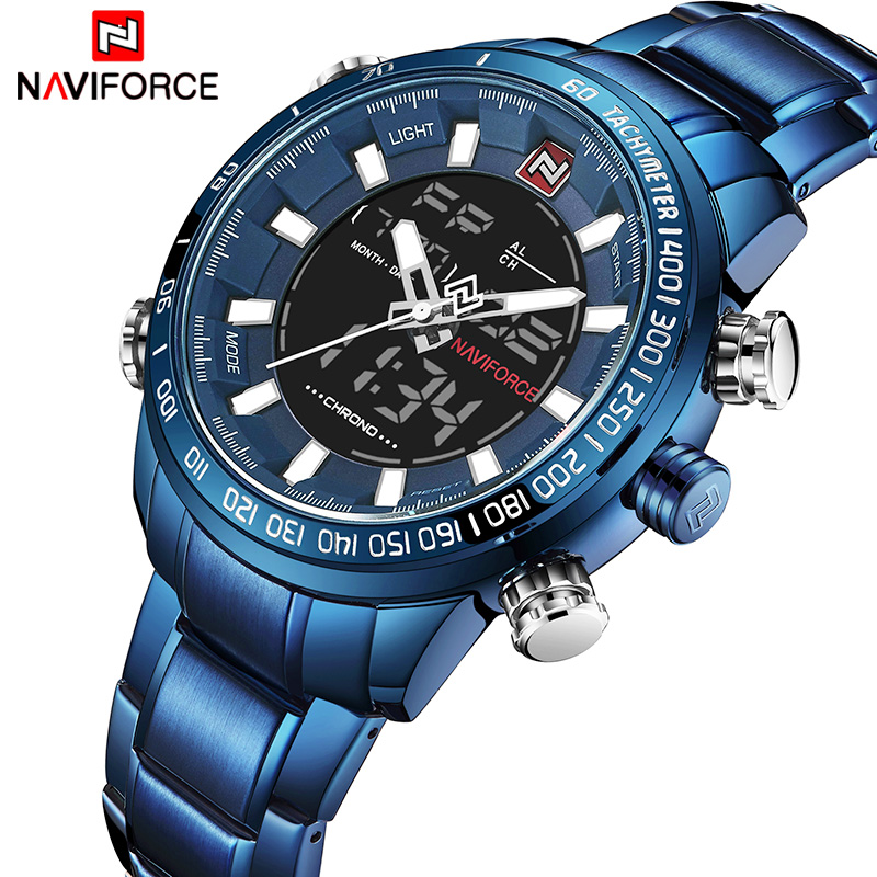 2018 Men Watches NAVIFORCE Luxury Brand Army Military Sport Watch Men Full Steel Quartz Digital Analog Clock Relogio Masculino watches men naviforce luxury brand full steel quartz wristwatches digital led watch army military sport watch relogio masculino