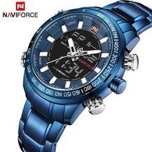 2018 для мужчин часы NAVIFORCE Элитный бренд армия военная Униформа спортивные часы для мужчин полный сталь кварцевые цифровые аналоговые часы…