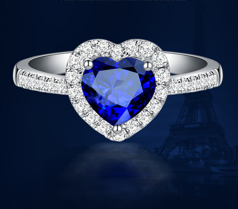 1 carat 925 sterling silver heart shaped tanzanite diamant ring sapphire man made diamond ring US size from 4.5 to9(LA) 925 silver heart shaped pattern ring silver