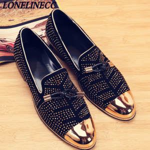 Studded Shoes Loafers Suede Men Casual Men's Toe Metal Sapato Black Masculino Wedding-Ventilation