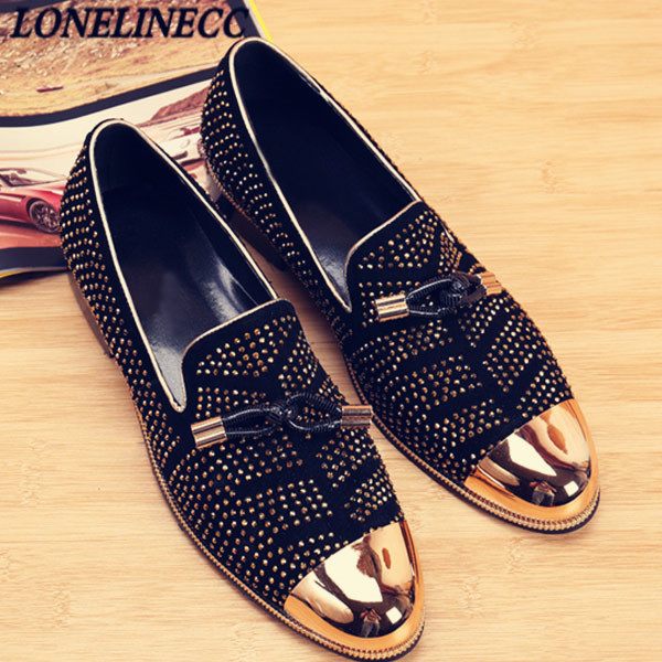 Black   Suede   Men Party Wedding Ventilation Casual Studded Shoes Sapato Masculino Metal Toe Men'S Flat Loafers Smoking Shoes