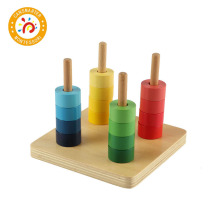 Montessori Kids Toy Baby High-Quality Colorful  Wood Rainbow Nail Plate