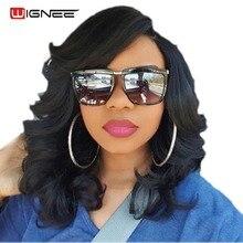 Wignee Високотемпературна вільна хвиля Синтетичні парики для жінок Чистий колір Натуральний чорний волосся Теплостійкий Weave Повний Cosplay перуку