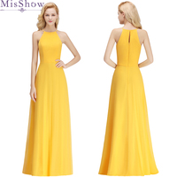 Elegant Bridal A line Yellow 34 color Long bridesmaids dresses Chiffon wedding party prom toast dress Gown 2018 wholesale custom