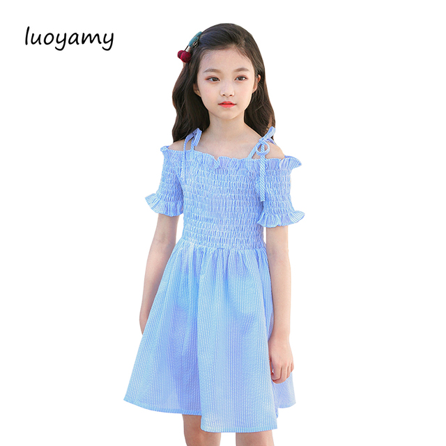 09d6b66ad40de luoyamy Baby Girls 2018 Blue Shoulderless Dress Kids Spring Summer Beach  Dress Children Cute Party Striped Clothes-in Dresses from Mother & Kids on  ...