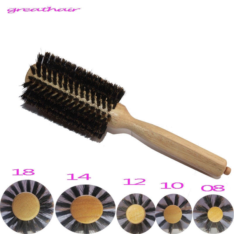 1 Straight Line Curly Hair Brush Comb Log Wood Handle Pig Mane Hair Makeup Brush Antistatic Detangling Massage Hairbrush Styling