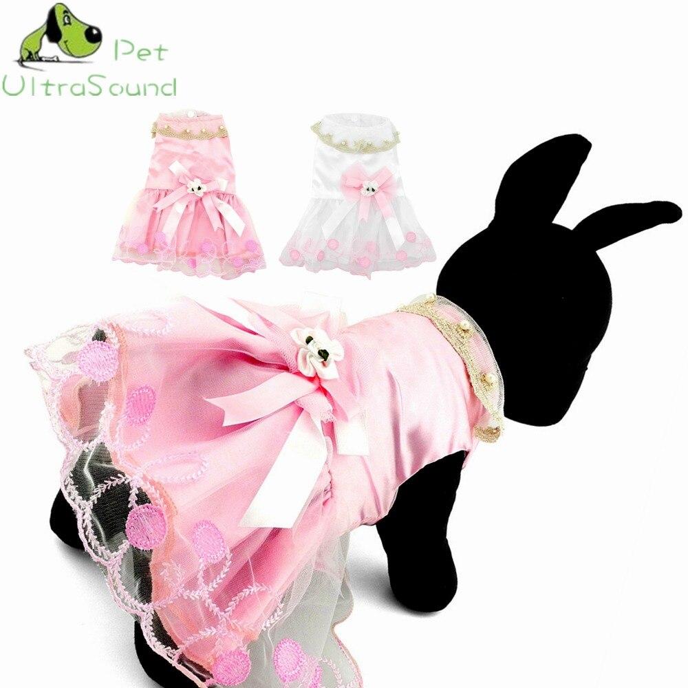 ULTRASOUND PET Cute Bow Psí šaty Tutu Sukně Letní Puppy Oblečení Princezna Psí Svatební šaty XS-XL