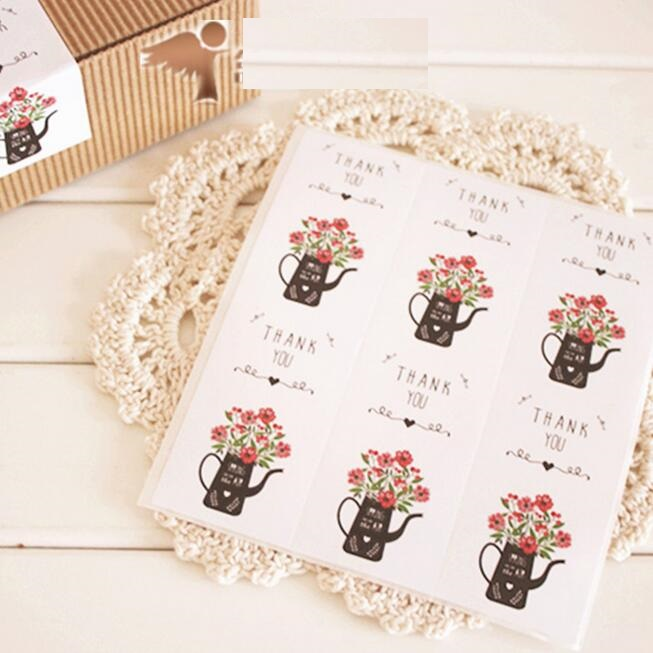 60pcs/lot Vintage Flower Kettle  Thank You series kraft paper seal sticker for baking DIY Package Decoration label stickers