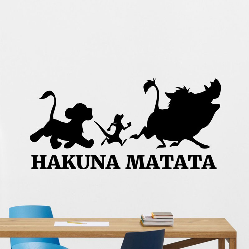 Hakuna Matata Wall Sticker Lion King Vinyl Decal Sticker Cartoons room decoration Wall Art Kids Room Decor Bedroom Decor A415