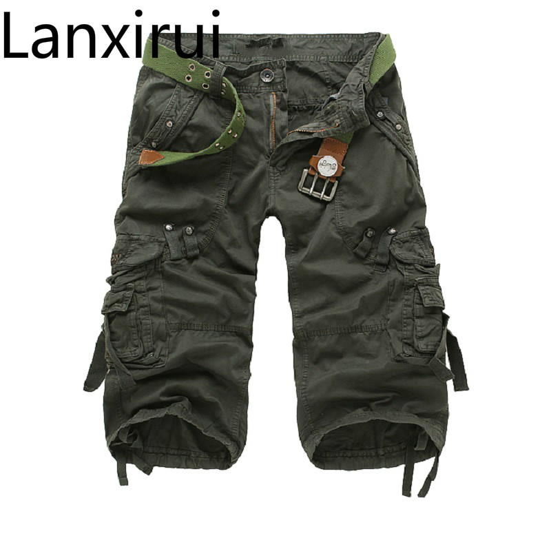 Men S Short 2018 Fashion Summer Calf -Length Men Shorts Cotton Casual Mens Military Style Army Tactical Long Cargo Short Male