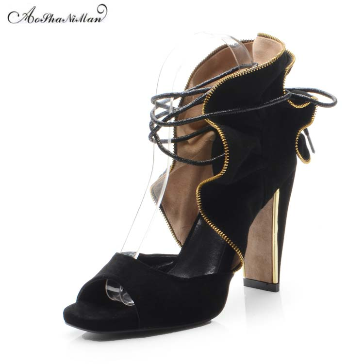 2019 100 real leather suede sandals women Fashion thick heel 10cm summer shoes Sexy black pop toe party shoes with metal zipper2019 100 real leather suede sandals women Fashion thick heel 10cm summer shoes Sexy black pop toe party shoes with metal zipper
