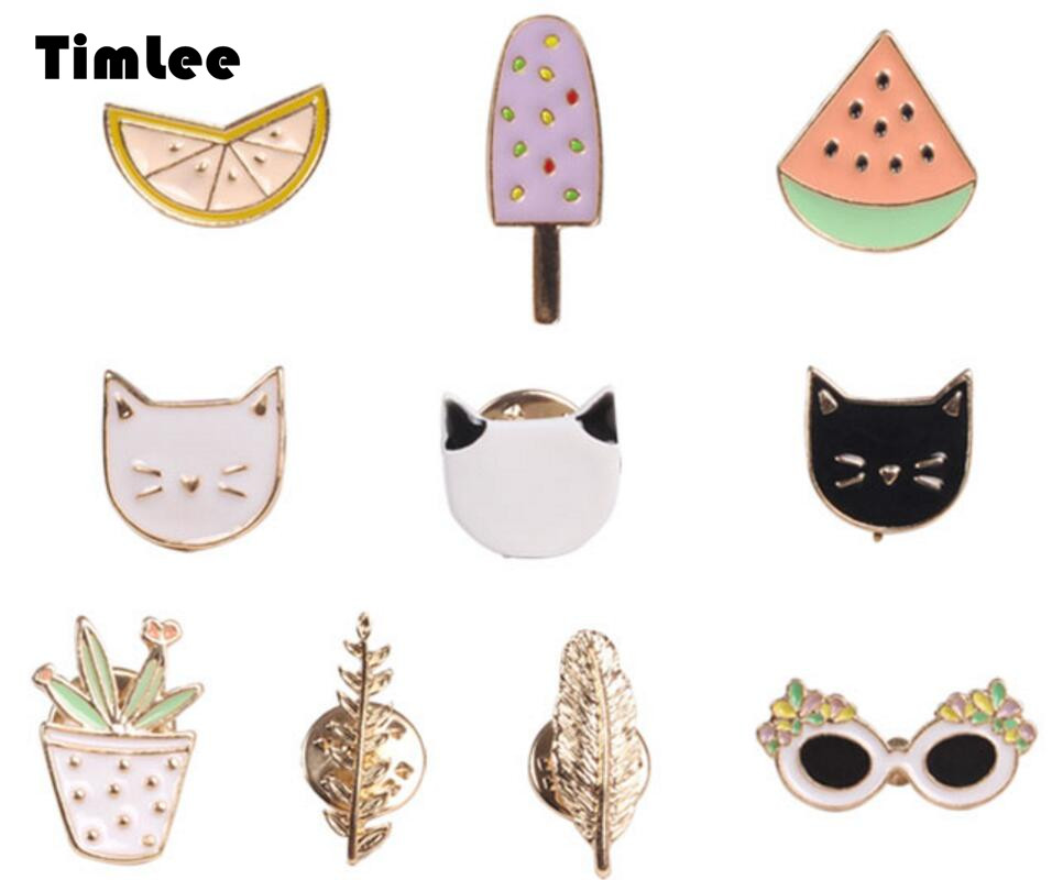 Timlee X002 Free shipping Cute Fruit Cat Sunglass Leaf Orange Pot Ice cream Watermelon Brooch Pins, Fashion Jewelry Wholesale