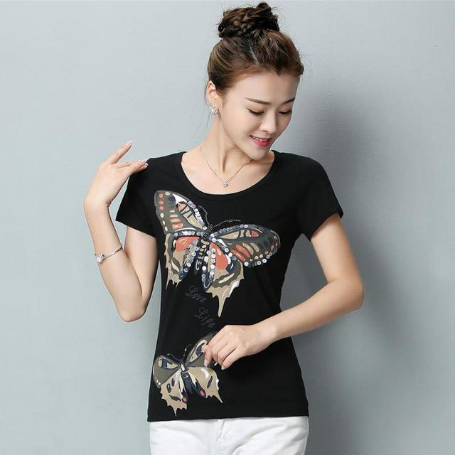 Hot Sale 2016 Summer Women Short Sleeve T-shirt Plus Size Korean Style Fashion Printed Tops Slim O-neck Cotton Tees Feminina