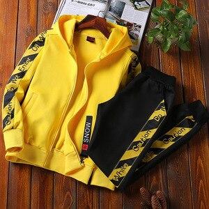 Image 3 - AmberHeard Men Sportsuit Set Spring Fashion Hooded Sweatshirt+Pants Sportswear Two Piece Set Tracksuit For Men Fitness Clothing