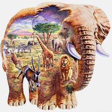 5D DIY Diamond Painting Full Square Animal World Elephant Embroidery Rhinestone Cross Home Decoration