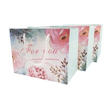 30pcs/lot Flower Decoration Small Gift Paper Bag With Handles 23x17x12cm Packing Birthday Wedding Event Party Supplies