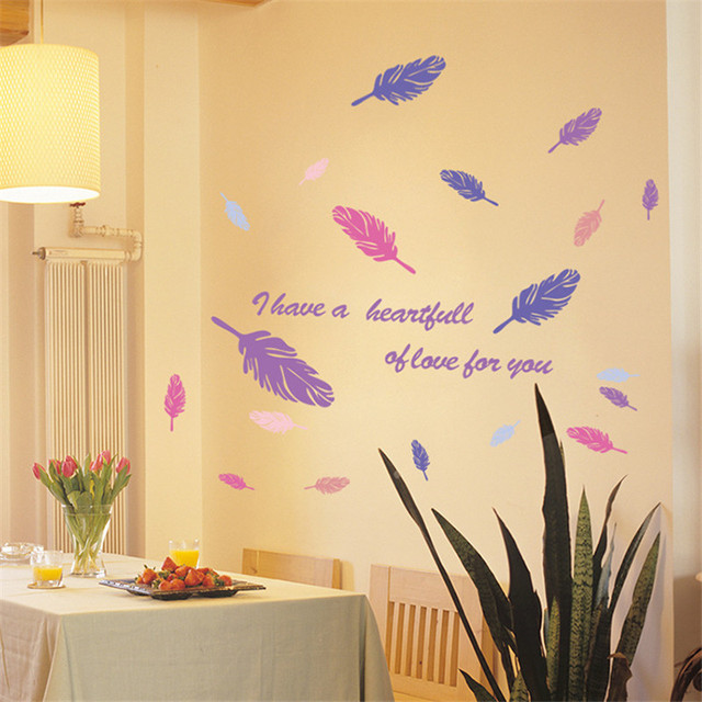 1Pcs 50*70cm Pink Purple Feather Wall Sticker Decoration for Home ...