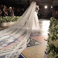 Romantic 5meter Long Bridal Veils Lace Applique Wedding Veils Bride Custom Made One Layer Bridal Veil Free Comb White Ivory