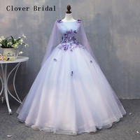 Elegant Long Sleeves Light Lilac Quinceanera Dresses Puffy Princess Gown Vestido De 15 Ano Abito Quinceanera