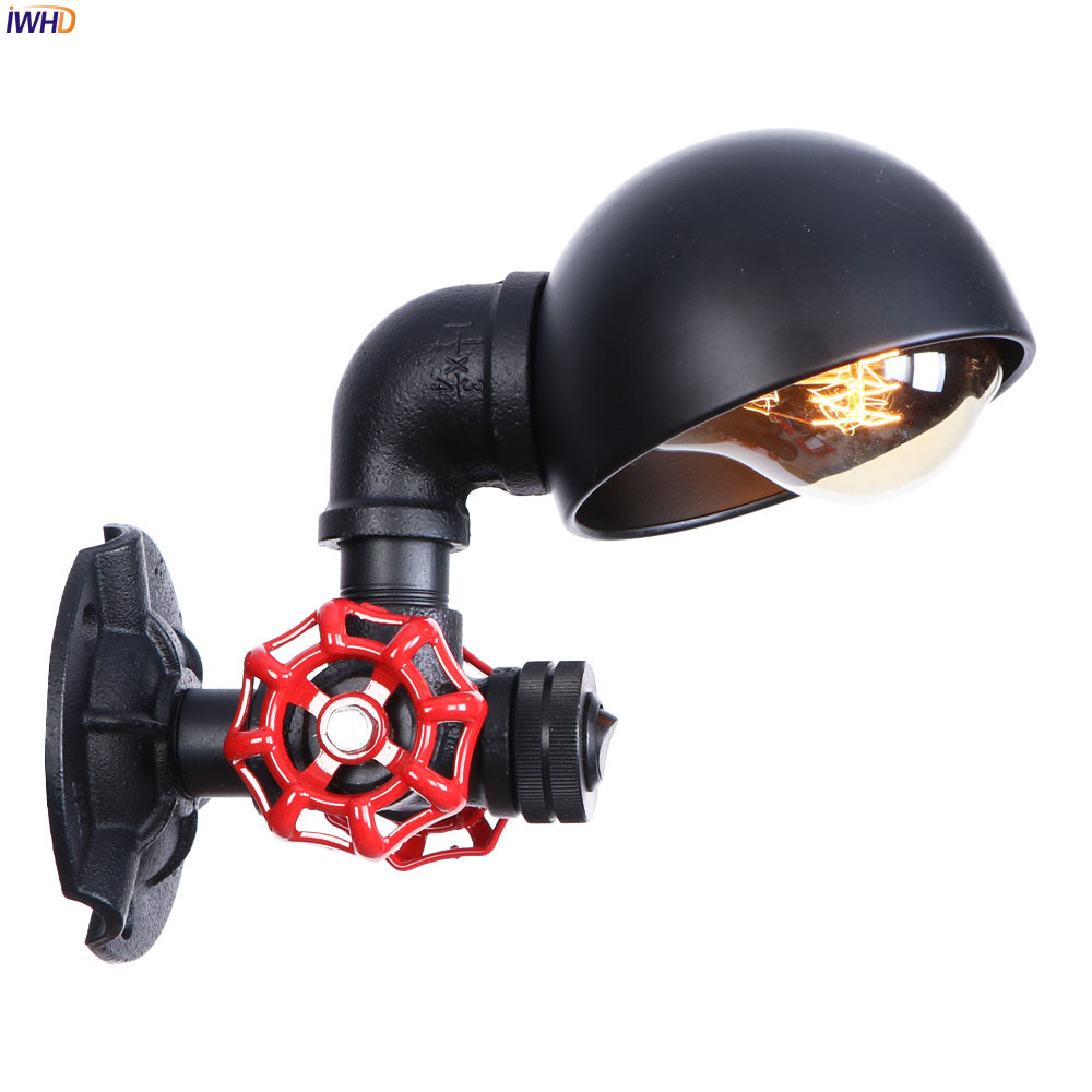 IWHD Black Iron Metal Retro LED Wall Light Fixtures Home Lighting Loft Industrial Style Water Pipe Lamp Vintage Wall SconceIWHD Black Iron Metal Retro LED Wall Light Fixtures Home Lighting Loft Industrial Style Water Pipe Lamp Vintage Wall Sconce