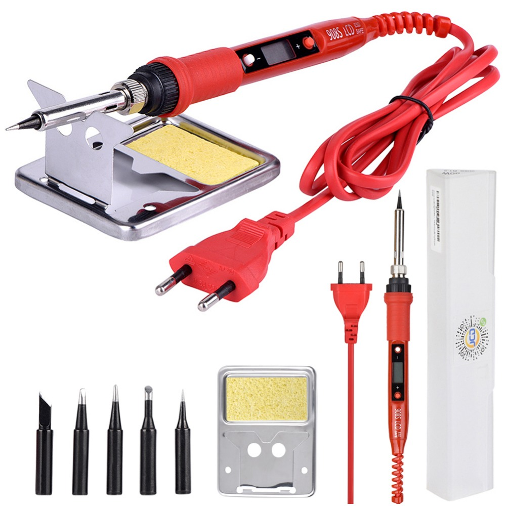 JCD 220V 80W LCD Electric Soldering Iron 908S Adjustable Temperature Solder Iron With Quality Soldering Iron Tips And Kits