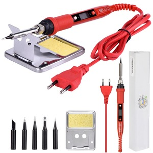 JCD 220V 80W LCD Electric Soldering iron 908S Adjustable Temperature Solder iron With quality soldering Iron Tips and kits(China)