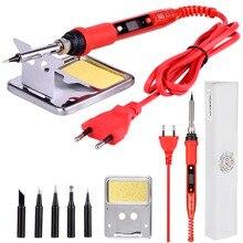 JCD soldador eléctrico de temperatura ajustable, 220V, 80W, LCD, 908S, soldador con puntas de pistola para soldar de calidad