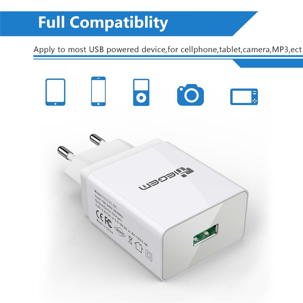 TIEGEM 18W Fast Quick Charge 3.0 Universal USB Wall Charger Adapter - Ανταλλακτικά και αξεσουάρ κινητών τηλεφώνων - Φωτογραφία 5