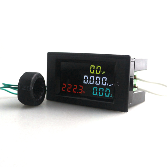 AC Voltmeter Ammeter AC 200.0-450.0 V 0.01-100A 180 Degrees Flawless LED HD Color Screen Power Energy Meter Monitor