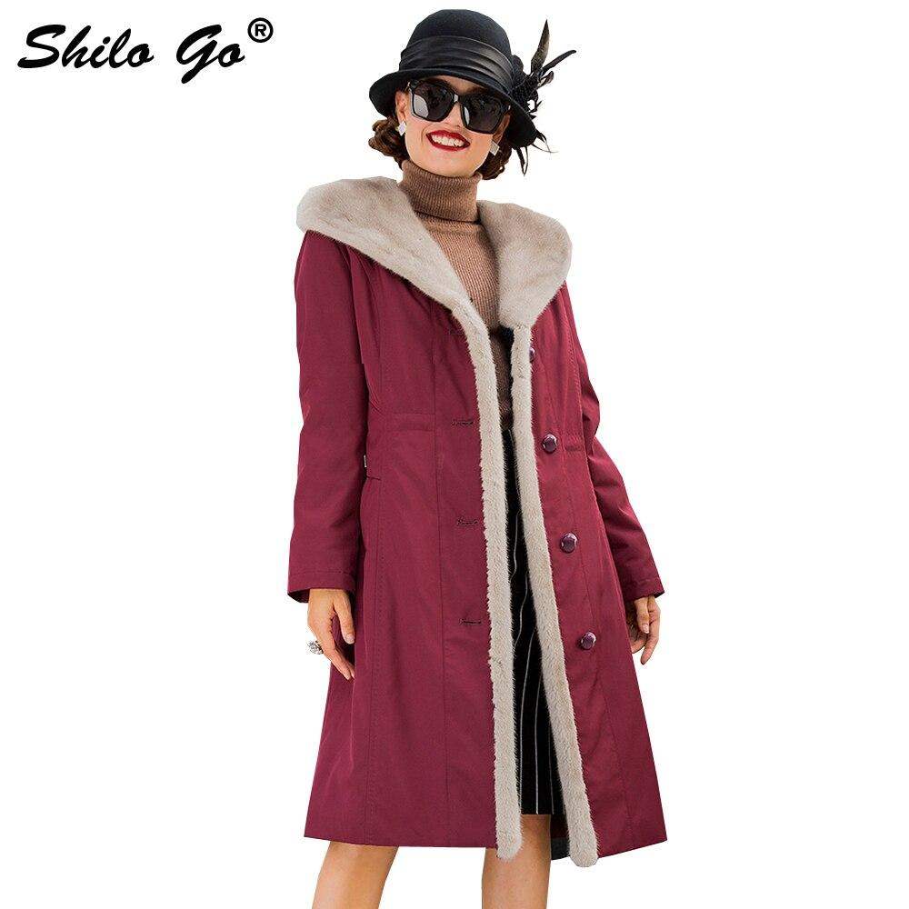 Rouge Lapin D'hiver Longue Taille Réel 3xl Capuche Parkas Outwear 2 Fourrure Vison Col Vin Femmes Manteau Doublure À 1 De Épais Nouvelle Vestes Grande EwUaUI