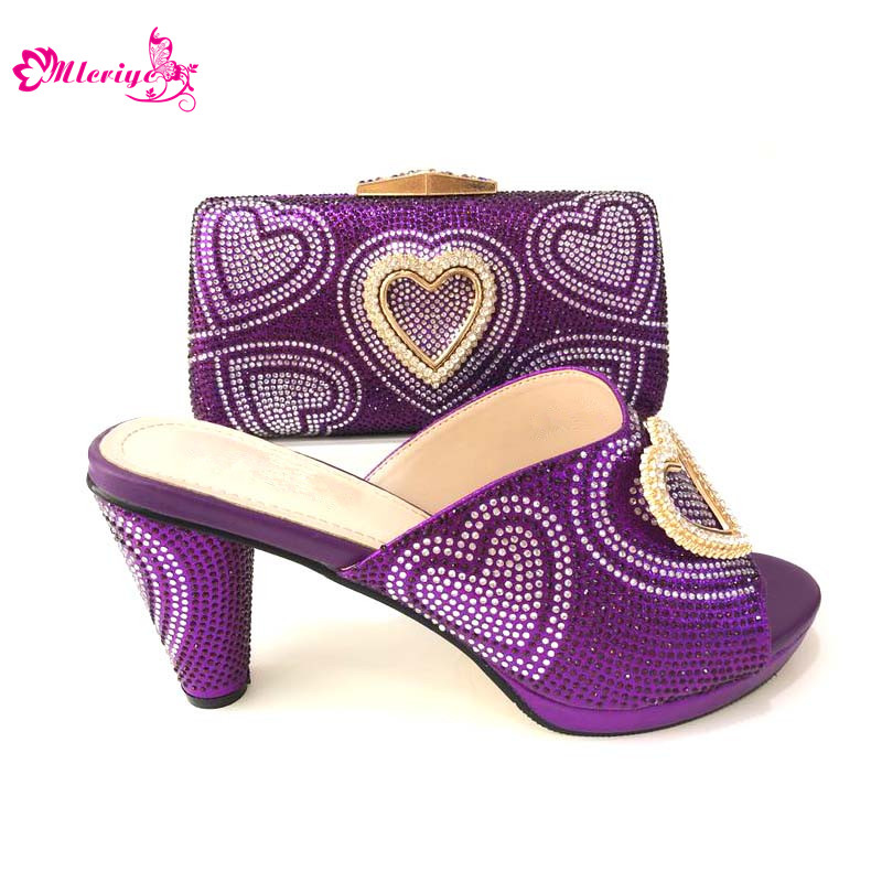 New Arrival African Wedding Italian Shoe and Bag Sets Decorated with  Rhinestone Llatest African Women Shoes fc99754d9190