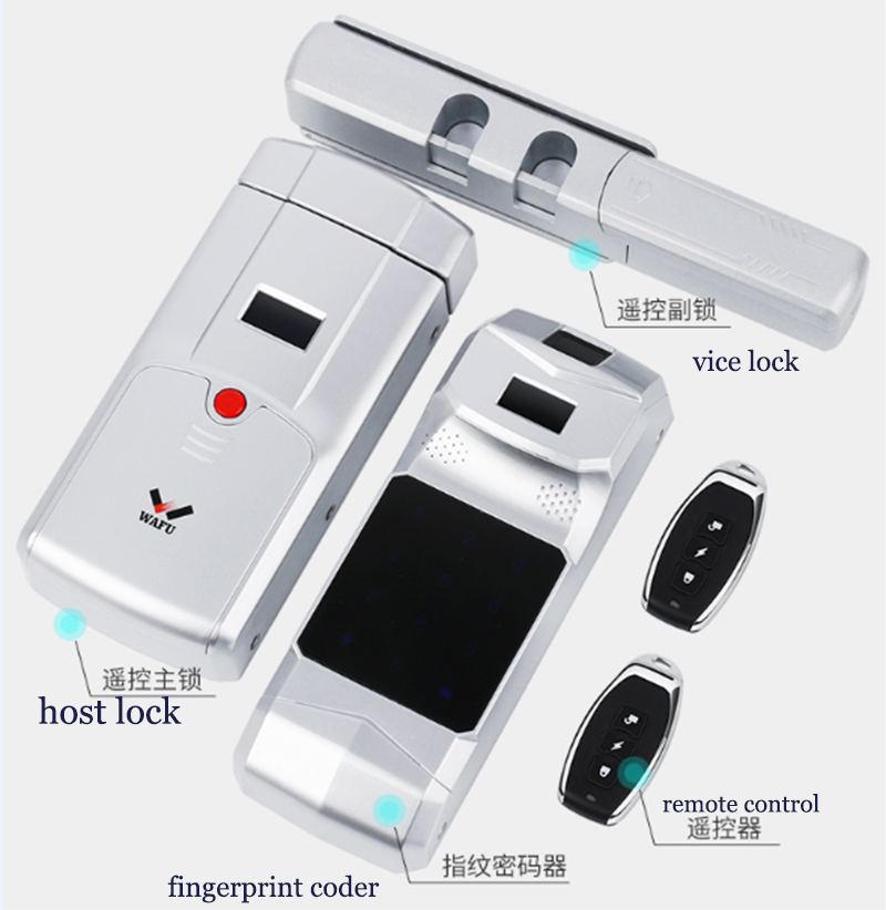 WAFU New Arrival Keyless Entry Electronic Remote Indoor Touched Fingerprint Smart Door Lock Wireless 433mHZ Invisible Intelligen in Electric Lock from Security Protection