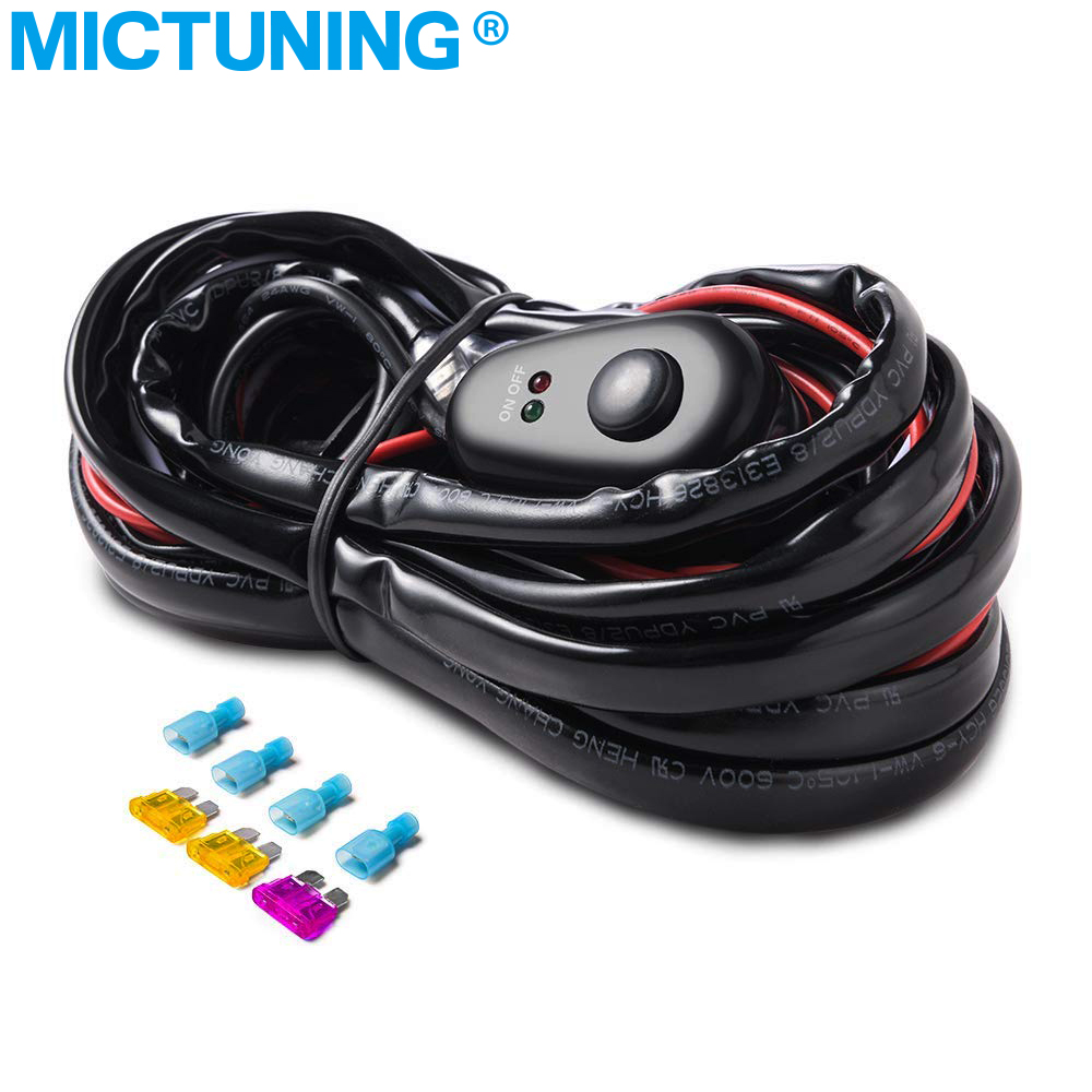 Oslamp Car Auto Led Work Lamp Driving Lights Wiring Loom Harness Off Road With Mictuning Light Bar Wire 3m 12v 24v 40a Relay Cable Kit