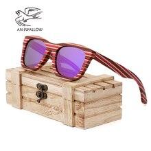 AN SWALLOW  Retro Wood Sunglasses Men Bamboo Sunglass Women Brand Design Sport Gold Mirror Sun Glasses gafas de sol mujer