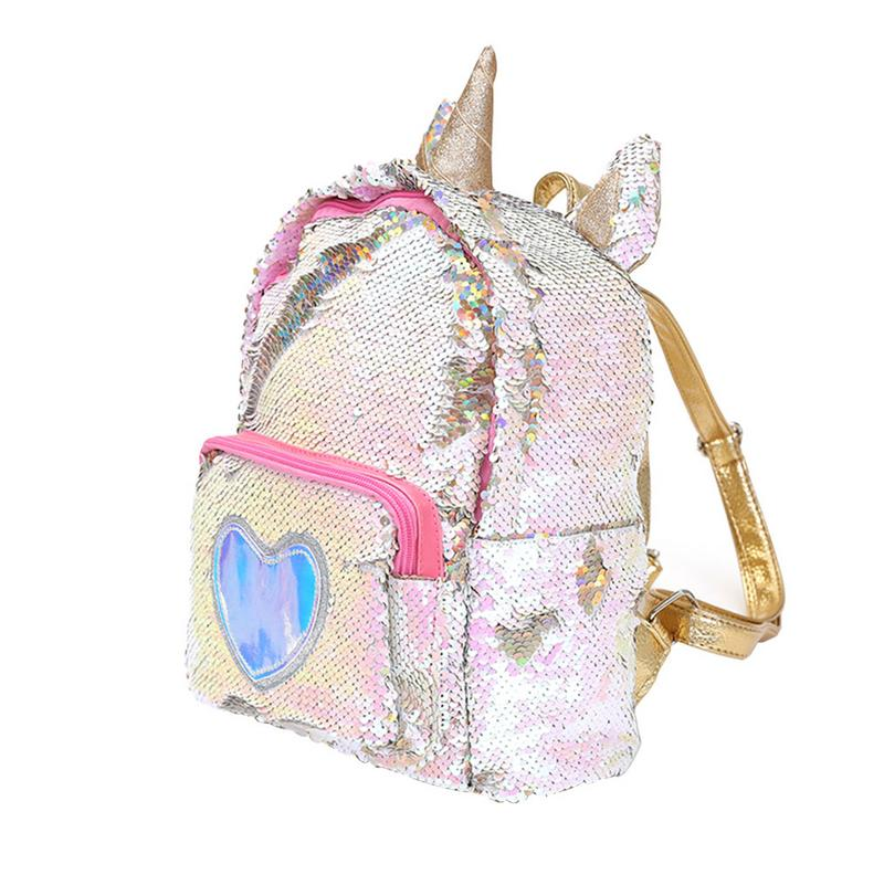 Women Girls Fashion 2 Way Sequins Glitter Backpack Sequins Backpack Cartoon Cute Bag Travel Backpack #3