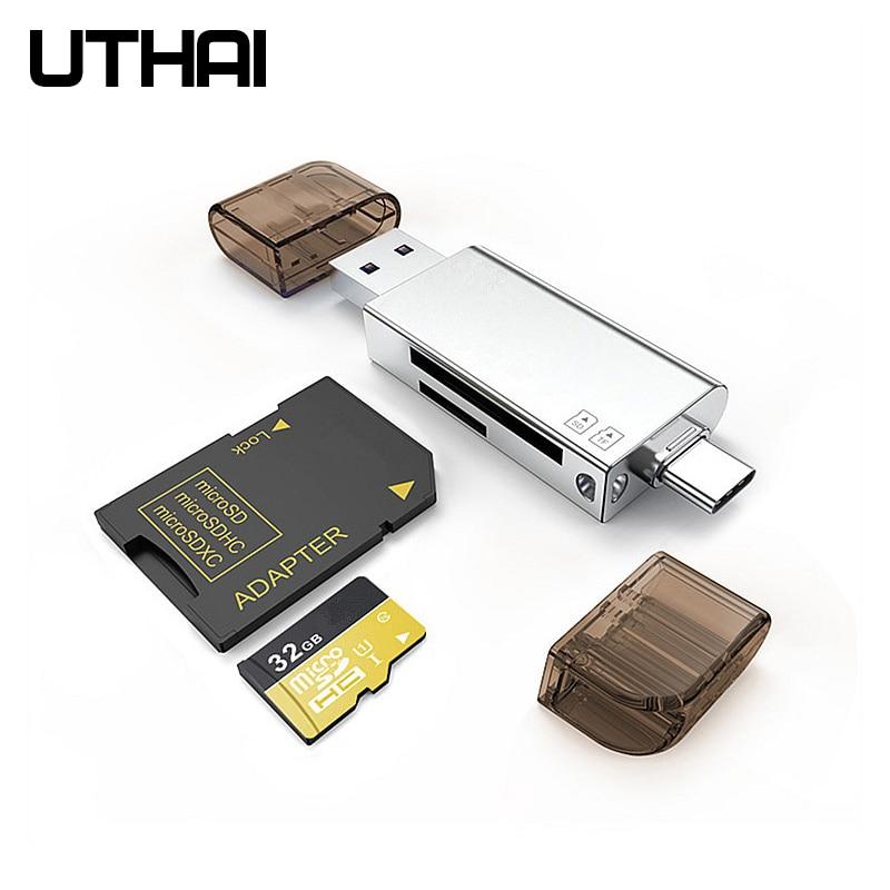 UTHAI C06 Card Reader USB 3.0 SD/Micro SD TF OTG Smart Memory Card Adapter For Laptop USB 3.0 Type C/Lightning  Card Reader