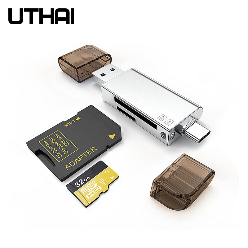 UTHAI C06 Card Reader USB3.0 SD/Micro SD TF OTG Smart Memory Card Adapter For Laptop Type C/Lightning  Cardreaders Converter