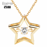 BAIHE Solid 14K Yellow Gold 0.08ct Certified H/SI 100% Genuine Natural Dancing Diamond Women Trendy Fine Jewelry Gift Necklaces