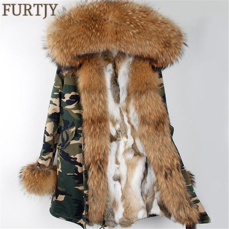 2018 Новый Съемный парка Настоящее пальто с мехом зимняя куртка женские натуральный мех енота воротник теплый толстый с мехом кролика вклады