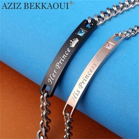 AZIZ BEKKAOUI DIY His Princess Her Prince Couple Bracelets Stainless Steel Crytal Charm Bracelets For Women