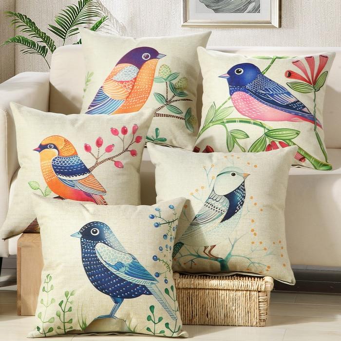 Печат от памук бельо диван възглавница 45x45cm / 17.7x17.7 '' хвърлят декоративна възглавница Начало рожден ден сватба кола седалка декор възглавница  t