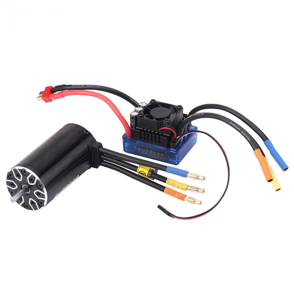 Remote Control Car Accessory 4 Poles 4076 2000KV Motor + 120A Electronic Speed Controller Accessory For 1/8 RC car 10 50v 100a 5000w reversible dc motor speed controller pwm control soft start high quality